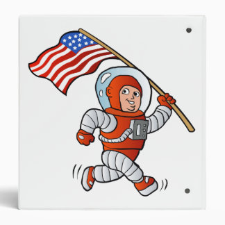 Astronaut with american flag binder