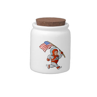 Astronaut with american flag candy dish