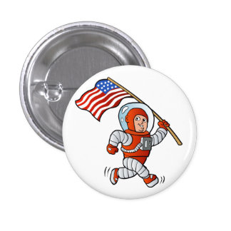 Astronaut with american flag pinback button