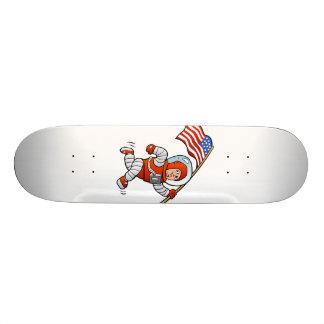 Astronaut with american flag skateboard