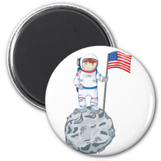Astronaut with name tag 2 inch round magnet
