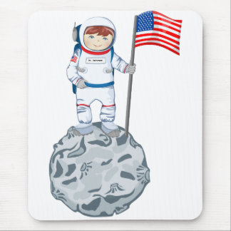 Astronaut with name tag mouse pad
