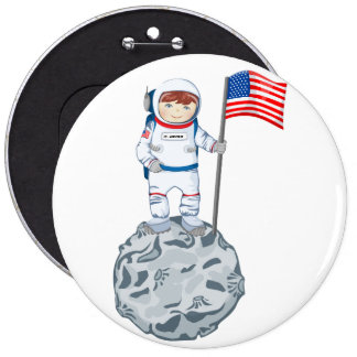 Astronaut with name tag pinback button