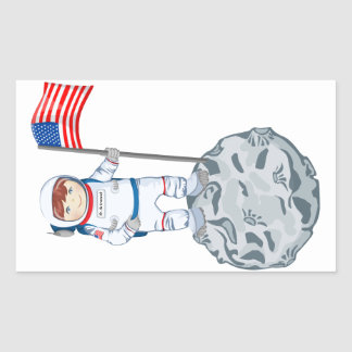 Astronaut with name tag rectangular sticker