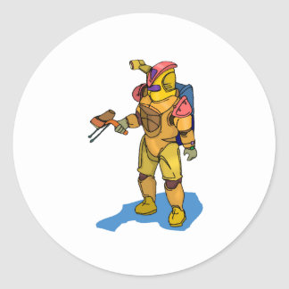 Astronaut With Ray Gun Round Stickers