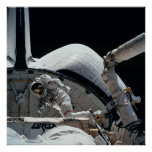 Astronaut working aboard Space Shuttle Endeavour Poster