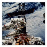 Astronaut working on the Hubble Space Telescope Print