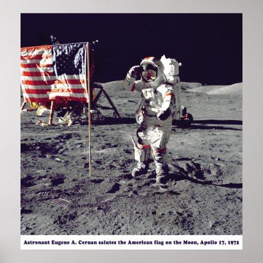 Astronauta Cernan en la luna Apolo 17 1972 Póster