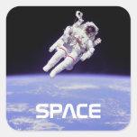 Astronauta Colcomanias Cuadradas Personalizadas