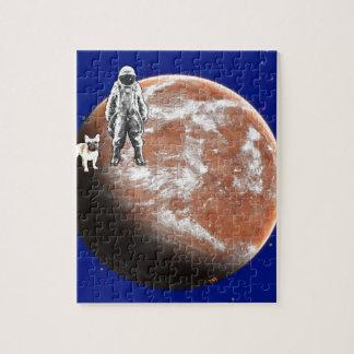 Astronauta con el pequeño-perro puzzle