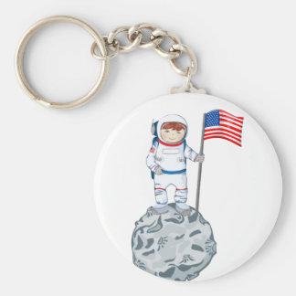 Astronauta con la etiqueta conocida llavero redondo tipo pin