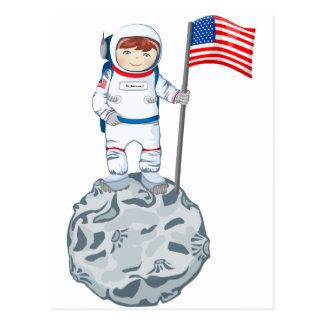 Astronauta con la etiqueta conocida tarjetas postales