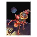 Astronauta de la ciencia ficción del vintage con e comunicados