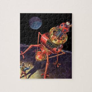 Astronauta de la ciencia ficción del vintage con e rompecabezas