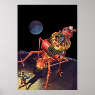 Astronauta de la ciencia ficción del vintage con póster