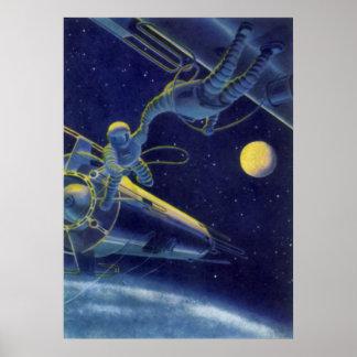 Astronauta de la ciencia ficción del vintage en póster