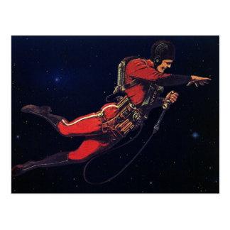 Astronauta de la ciencia ficción del vintage en postal