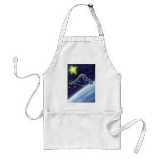 Astronauta de la ciencia ficción del vintage en un delantal