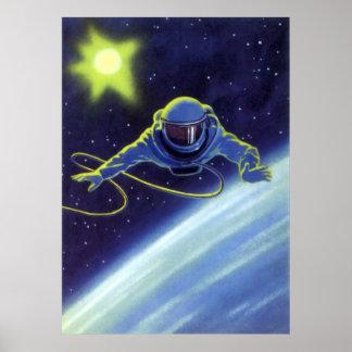 Astronauta de la ciencia ficción del vintage en un impresiones