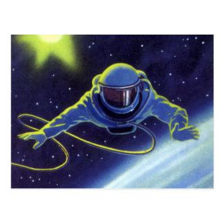 Astronauta de la ciencia ficción del vintage en un postal