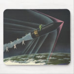 Astronauta de la ciencia ficción del vintage que m alfombrilla de raton
