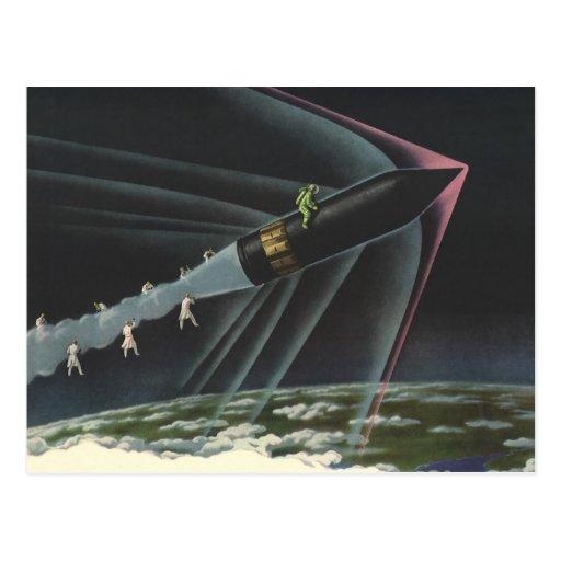 Astronauta de la ciencia ficción del vintage que postal