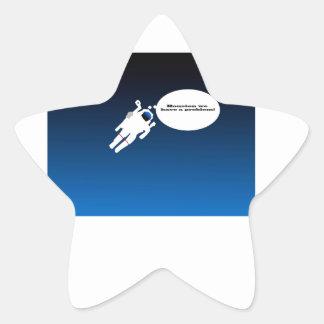 Astronauta de la ciencia pegatina en forma de estrella