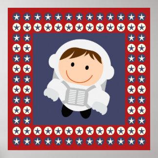 Astronauta de las estrellas rojas y azules poster