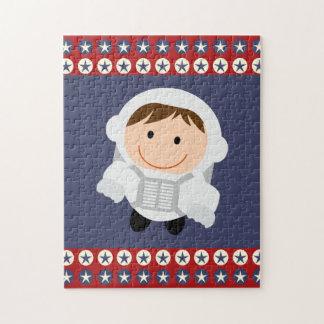 Astronauta de las estrellas rojas y azules puzzles con fotos