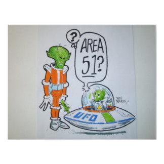 """Astronauta del área 51 invitación 4.25"""" x 5.5"""""""