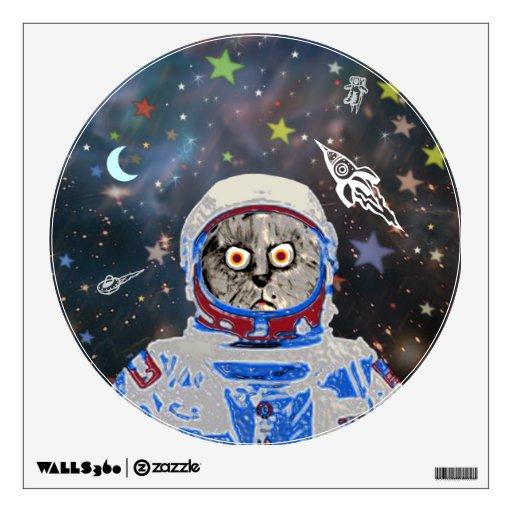astronauta del gato en la galaxia vinilo adhesivo