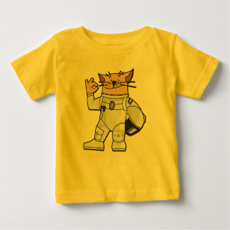 Astronauta del gato playera de bebé