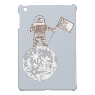 Astronauta del grabar en madera con la bandera iPad mini protector