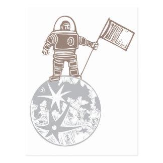 Astronauta del grabar en madera con la bandera postal