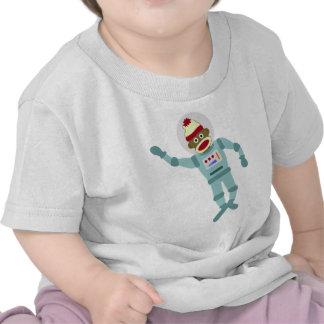 Astronauta del mono del calcetín camiseta