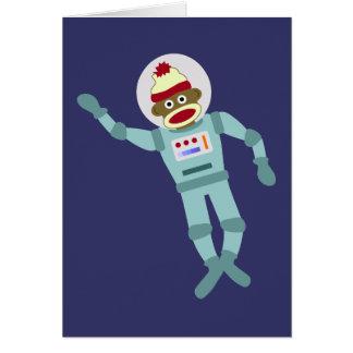 Astronauta del mono del calcetín tarjeta de felicitación