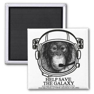 Astronauta del orangután - ahorre la galaxia imán cuadrado
