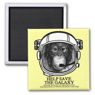 Astronauta del orangután - ayuda ahorrar la galaxi imán cuadrado