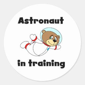 Astronauta del oso en el entrenamiento etiquetas redondas