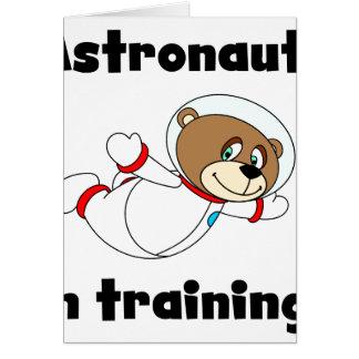 Astronauta del oso en el entrenamiento tarjeton