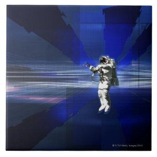 Astronauta en espacio teja cerámica