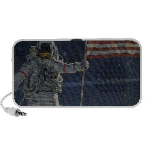 Astronauta en la luna con la bandera americana iPhone altavoz