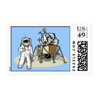 Astronauta en los sellos de la luna