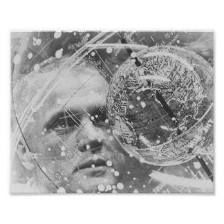 Astronauta John Glenn que entrena para la amistad Póster