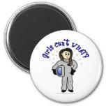 Astronauta ligero de la mujer imán para frigorifico