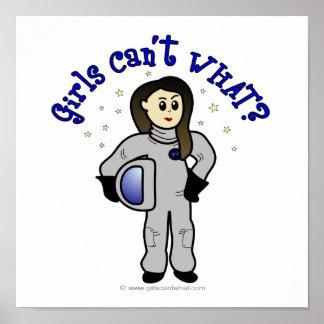 Astronauta ligero de la mujer póster