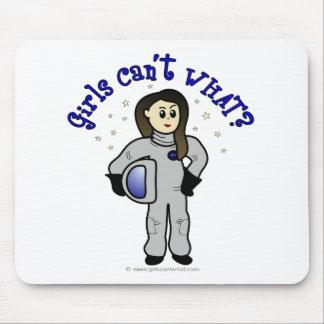 Astronauta ligero de la mujer alfombrilla de ratón