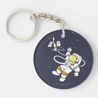 Astronauta Llavero Redondo Acrílico A Doble Cara