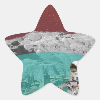Astronauta lunar de la colonia con el perro pegatinas forma de estrellaes