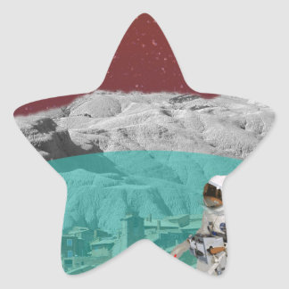 Astronauta lunar de la colonia con el perro pegatina en forma de estrella